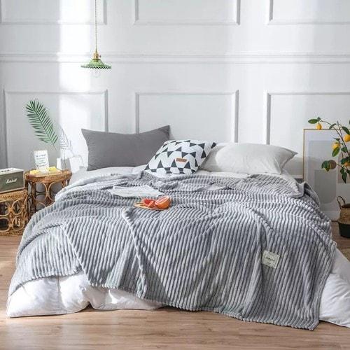 Deals for Less - Soft Fleece Blanket, Double Size, Plain Grey color
