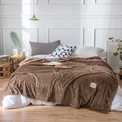 Deals for Less - Soft Fleece Blanket, Double Size, Plain Brown color