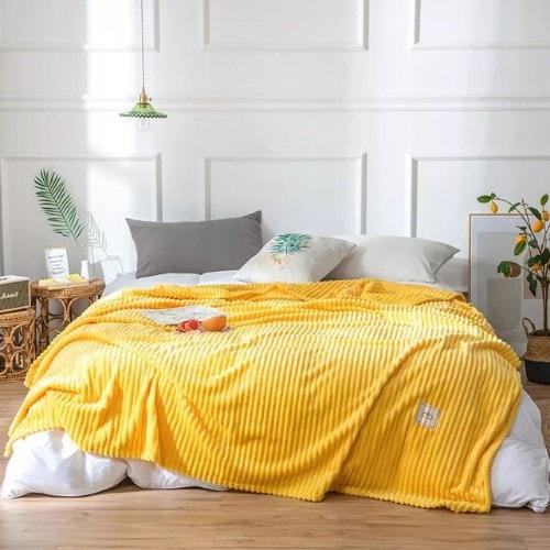 Deals for Less - Soft Fleece Blanket, Double Size, Plain Yellow color