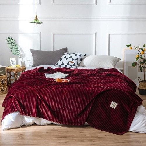 Deals for Less - Soft Fleece Blanket, Double Size, Plain Maroon color