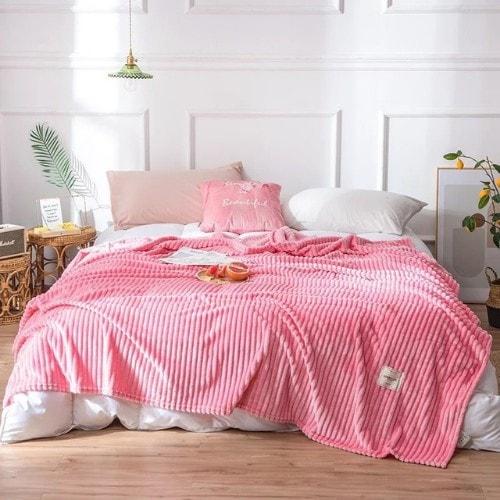 Deals for Less - Soft Fleece Blanket, Double Size, Plain Pink color