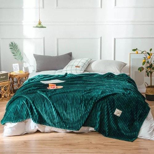 Deals for Less - Soft Fleece Blanket, Double Size, Plain Green color