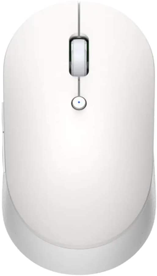 Xiaomi Mi Dual Mode Wireless Mouse Silent Edition, Slim Computer Mouse, Global Version, 10 Meters Range, Bluetooth LE 4.0, 2.4GHz RF, Quiet Click for Laptop/Notebook/PC/Mac - Aluminum Housing - White