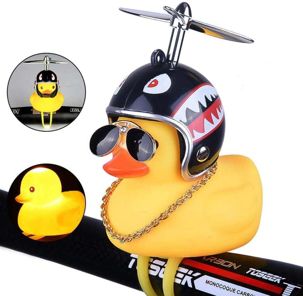Duck Bike Bell, Yellow Duck Car Dashboard Decorations with LED Light Propeller Helmet, Toy Rubber Ducks for Kids Adults Sport Outdoor