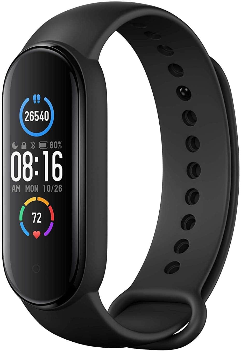 Xiaomi Band 5 Smart Fitness Bracelet Heart Rate Monitor, Sports Waterproof Wristband, Bluetooth 5.0 Color AMOLED Screen, Black, Mi band 5, black