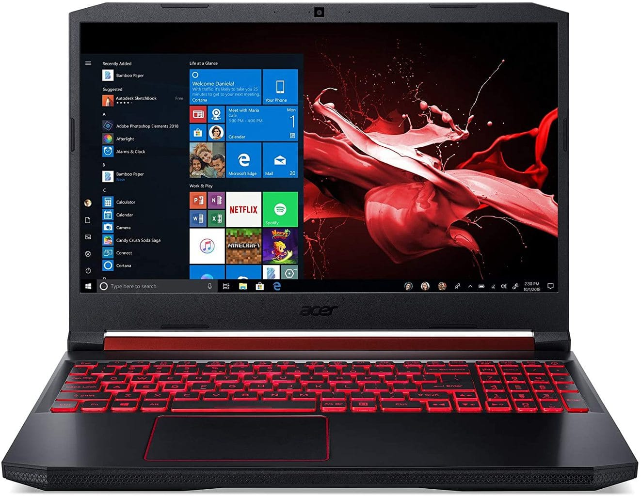 "Acer NITRO 5 AN515-54-5812 GAMING Core i5-9300H 2.4GHz 256GB SSD 8GB 15.6"" (1920x1080) BT WIN10 Webcam NVIDIA GTX 1650 4096MB Backlit Keyboard BLACK ( INTERNATIONAL VERSION )"