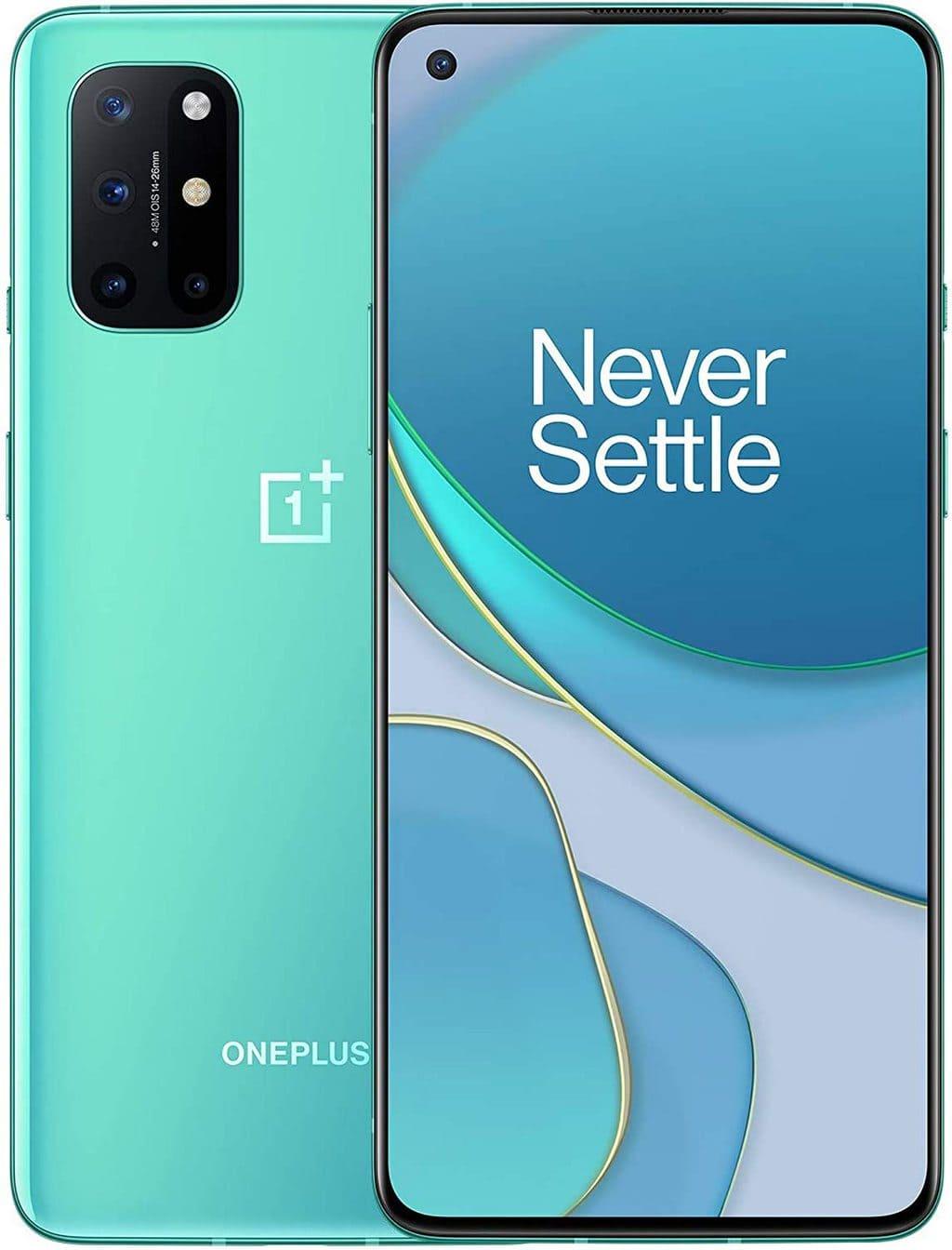 "ONEPLUS 8T 5G 8GB RAM 128GB ROM, 6.55"" 120Hz Fluid Display Android Smartphone, Snapdragon 865, Dual SIM, NFC, 4500 mAh 65W Warp Charge, Quad Camera, Aquamarine Green"