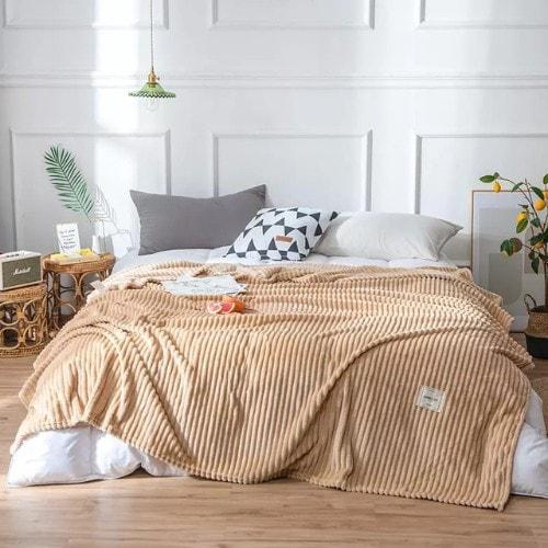 Deals for Less - Soft Fleece Blanket, Double Size, Plain Light brown color