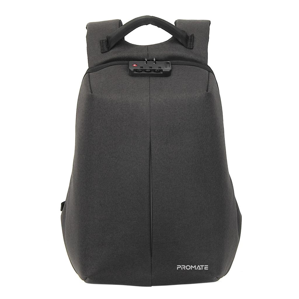 Promate Anti-Theft Laptop Backpack, Durable Water-Resistant Business Travel 16 Inch Laptop Bag with USB Charging Port, Adjustable Padded Shoulder, Hidden Secure Pocket and Password Lock, Defender-16 Black