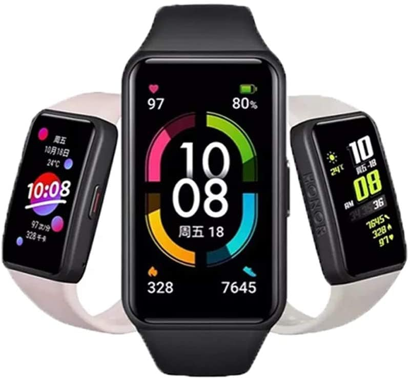 """Honor Band 6 SmartWatch Multiple Languages 1.47"""" AMOLED Display 14 Days Battery Blood Oxygen Heart Rate Monitor Fitness Sleep (Black)"""