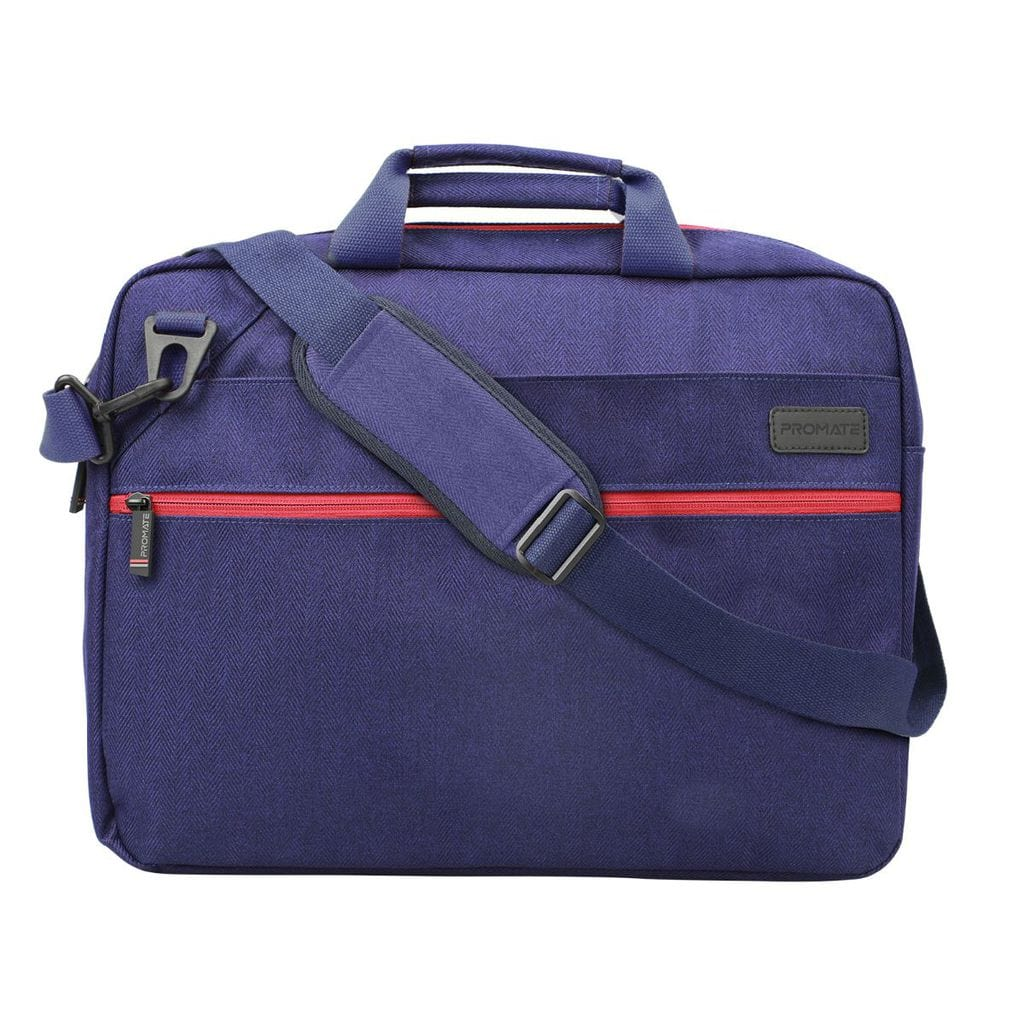 Promate 16 Inch Laptop Messenger Bag, Premium Water-Resistant Shoulder Messenger Bag with Secure Quick Access Pocket, Detachable String and Anti-Theft Pocket for Laptops, Notebook, Documents, Akita-MB Blue