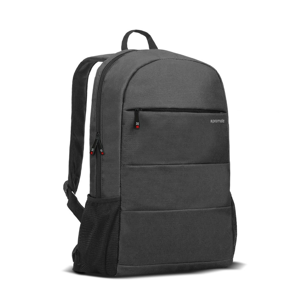 Promate Travel Laptop Backpack, Lightweight Water-Resistant Computer Bag with Anti-Theft Secure Pockets and Adjustable Padded Strap for Men, Women, 15.6 Inch Laptop and Notebook, Alpha-BP Black