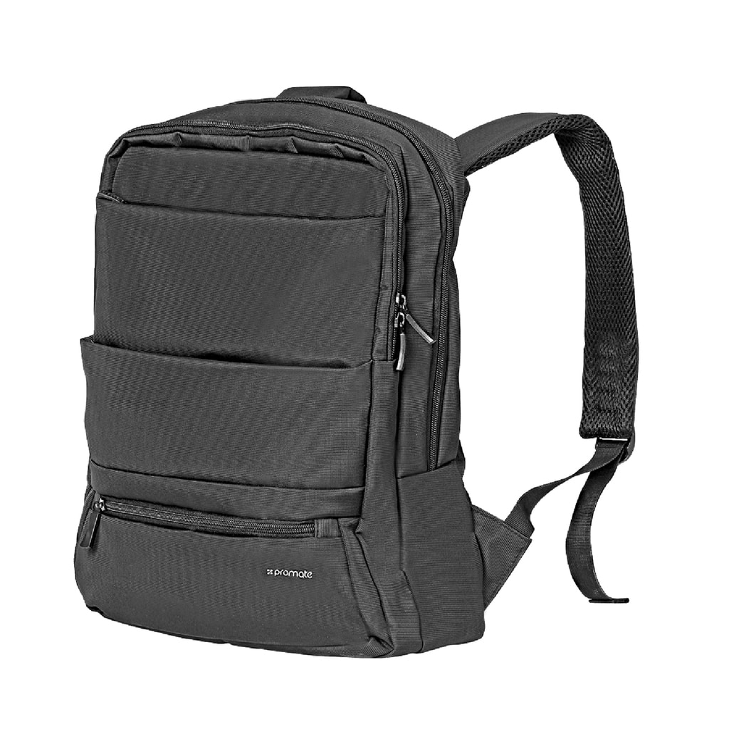 Promate Laptop Backpack, Slim Lightweight Dual Pocket Water Resistance Backpack with Multiple Compartment and Anti-Theft Pocket for 15.6 Inch Laptops, Tablets, Documents, Apollo-BP Black