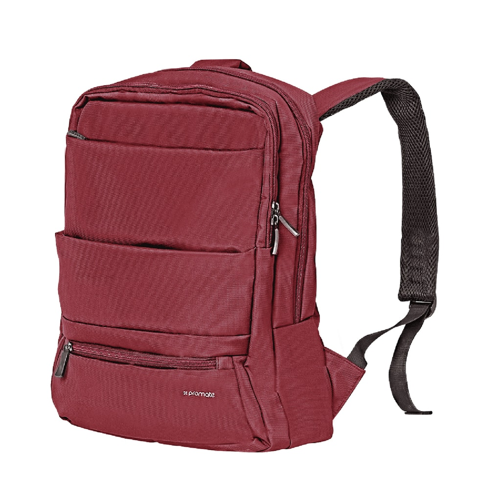 Promate Laptop Backpack, Slim Lightweight Dual Pocket Water Resistance Backpack with Multiple Compartment and Anti-Theft Pocket for 15.6 Inch Laptops, Tablets, Documents, Apollo-BP Red