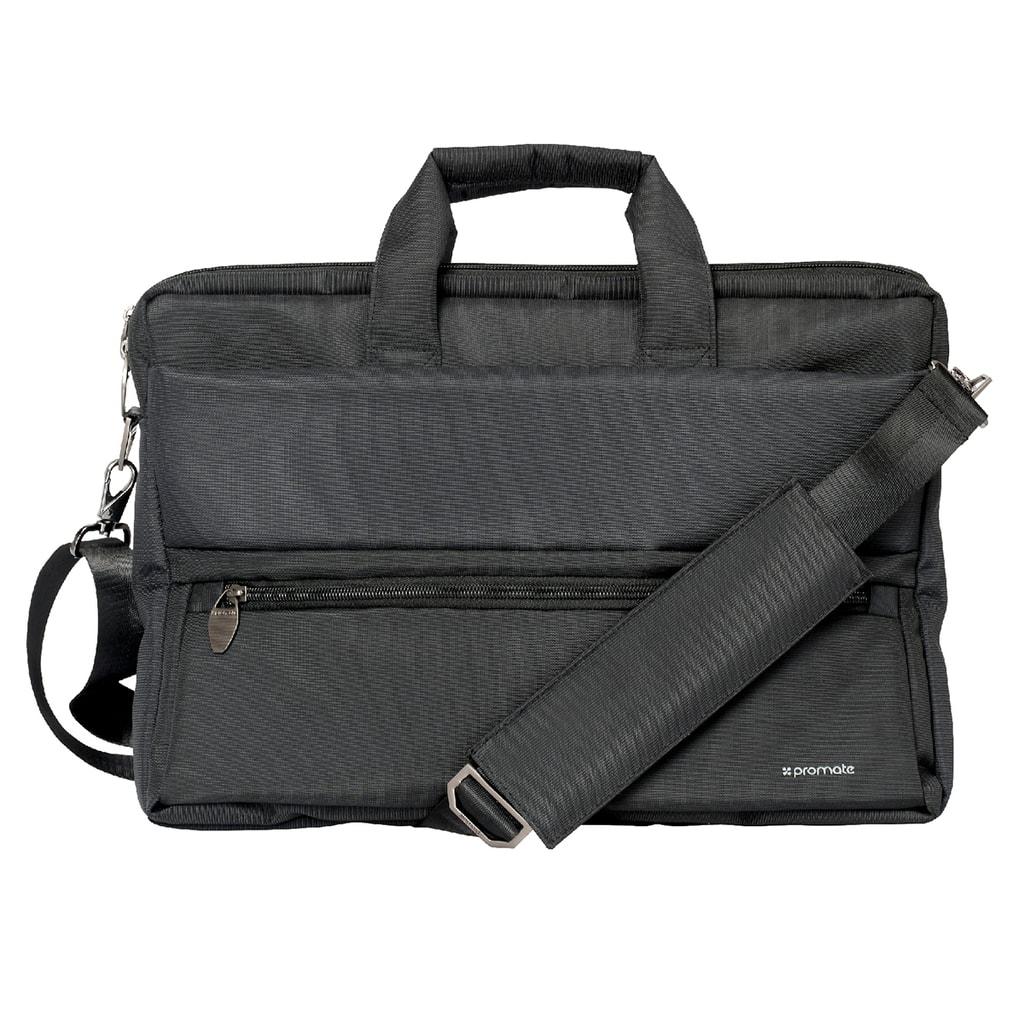 Promate Messenger Bag Laptop, Multifunction Shoulder Messenger Bag with Multiple Storage Pocket, Detachable Sling and Water-Resistance Laptop Bag for 15.6 Inch Laptops, Tablet, Document, Apollo-MB Black