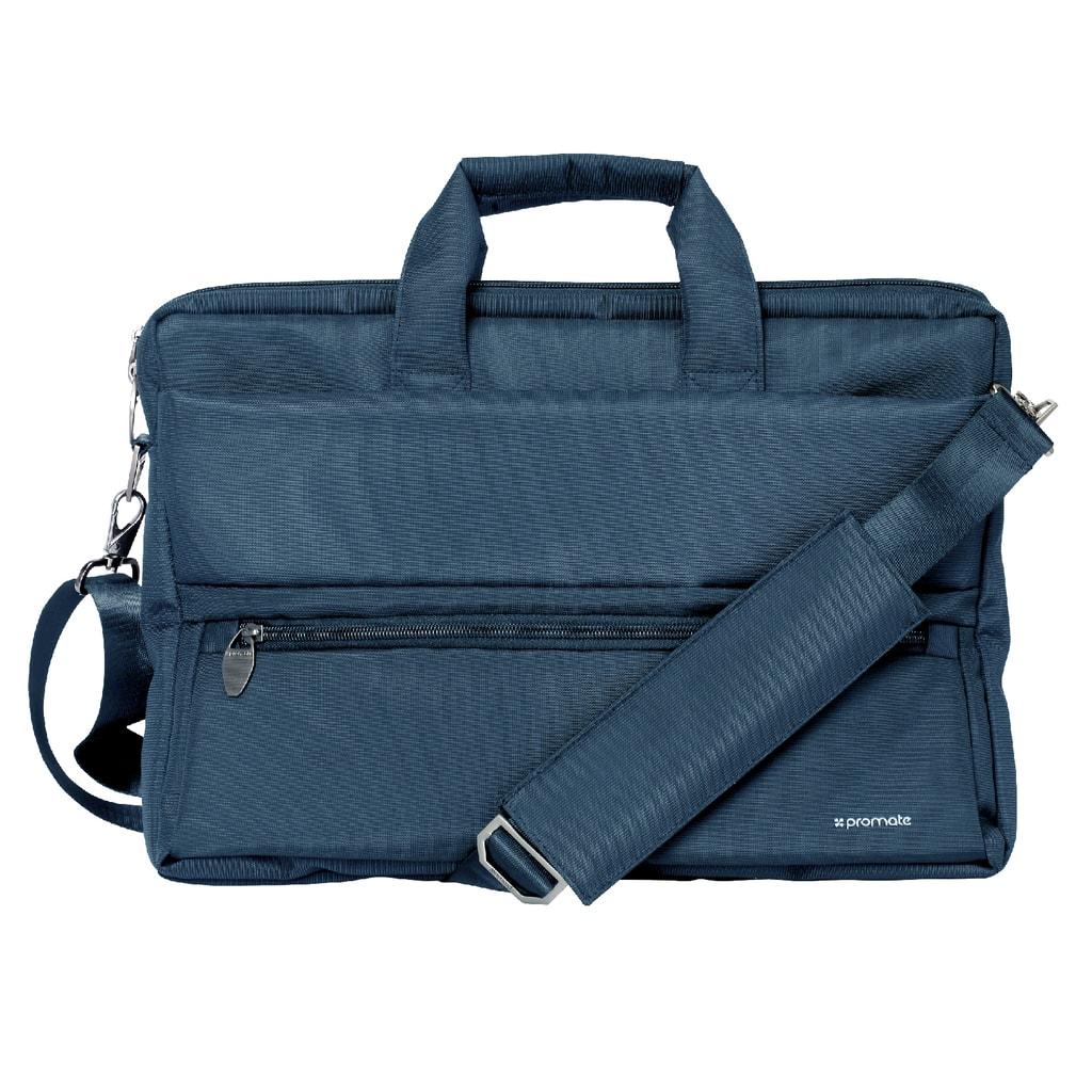 Promate Messenger Bag Laptop, Multifunction Shoulder Messenger Bag with Multiple Storage Pocket, Detachable Sling and Water-Resistance Laptop Bag for 15.6 Inch Laptops, Tablet, Document, Apollo-MB Blue