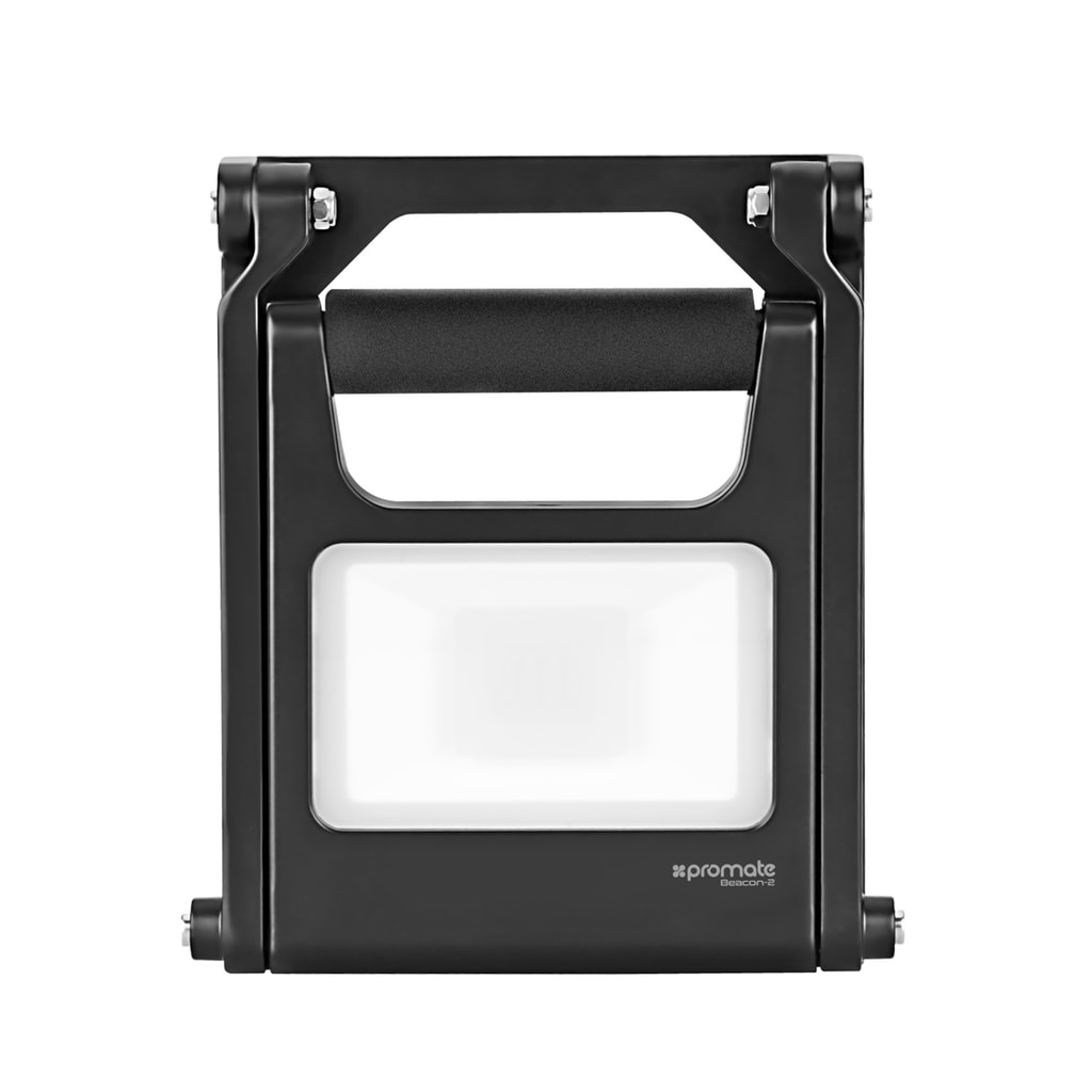 Promate LED Flood Light, Super-Bright 1440 Lumens Rechargeable 8800mAh Outdoor LED Flood Light with IP54 Water and Dust Resistance and Steady Foldable Stand for Emergency, Hiking, Camping, Beacon-2.Black