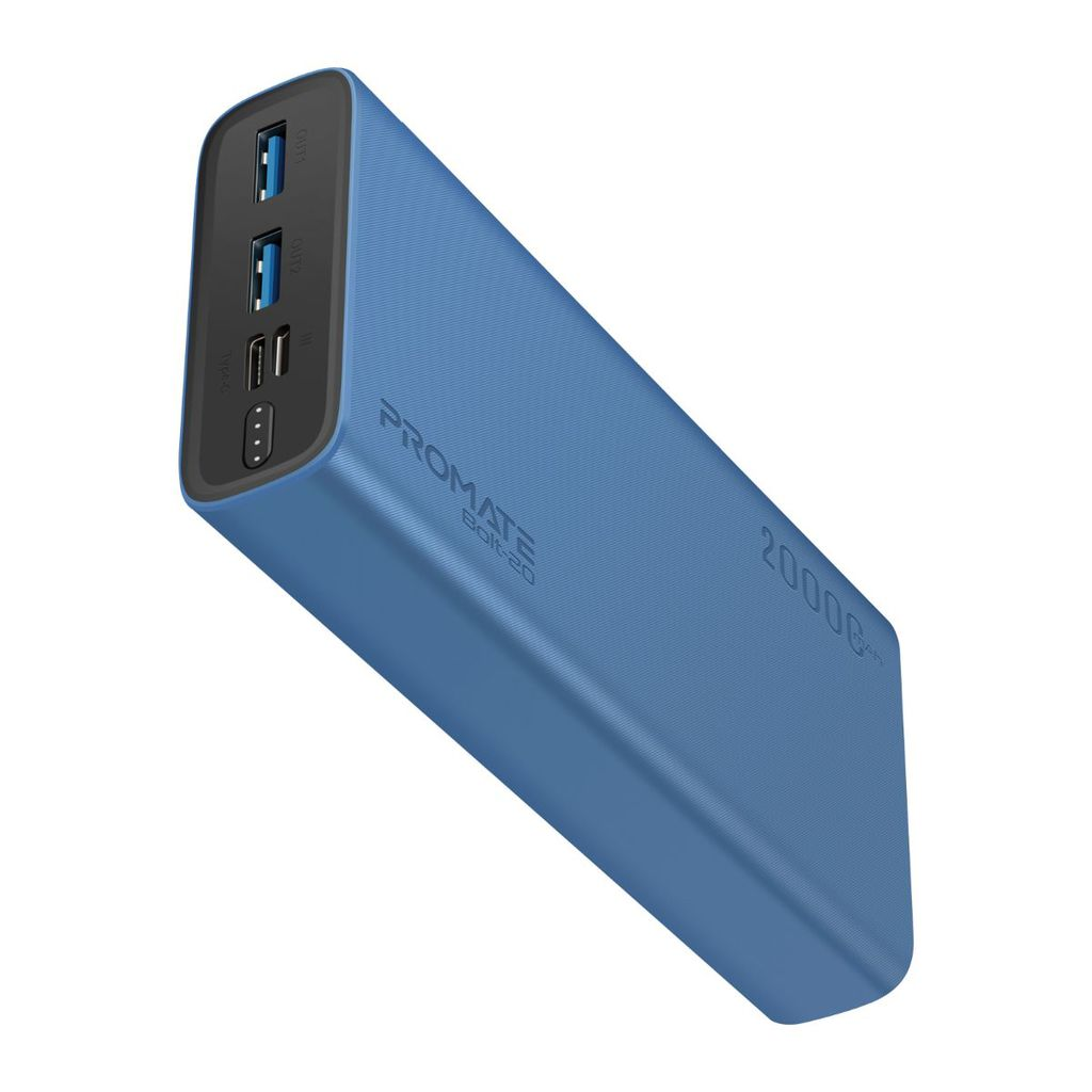 Promate 20000mAh Power Bank, Super-Slim Fast Charging Portable Charger with 2A Dual USB Port, Over-Charging Protection and USB-C, Micro USB Input Port for Smartphones, Tablets, iPod, iPad, Bolt-20