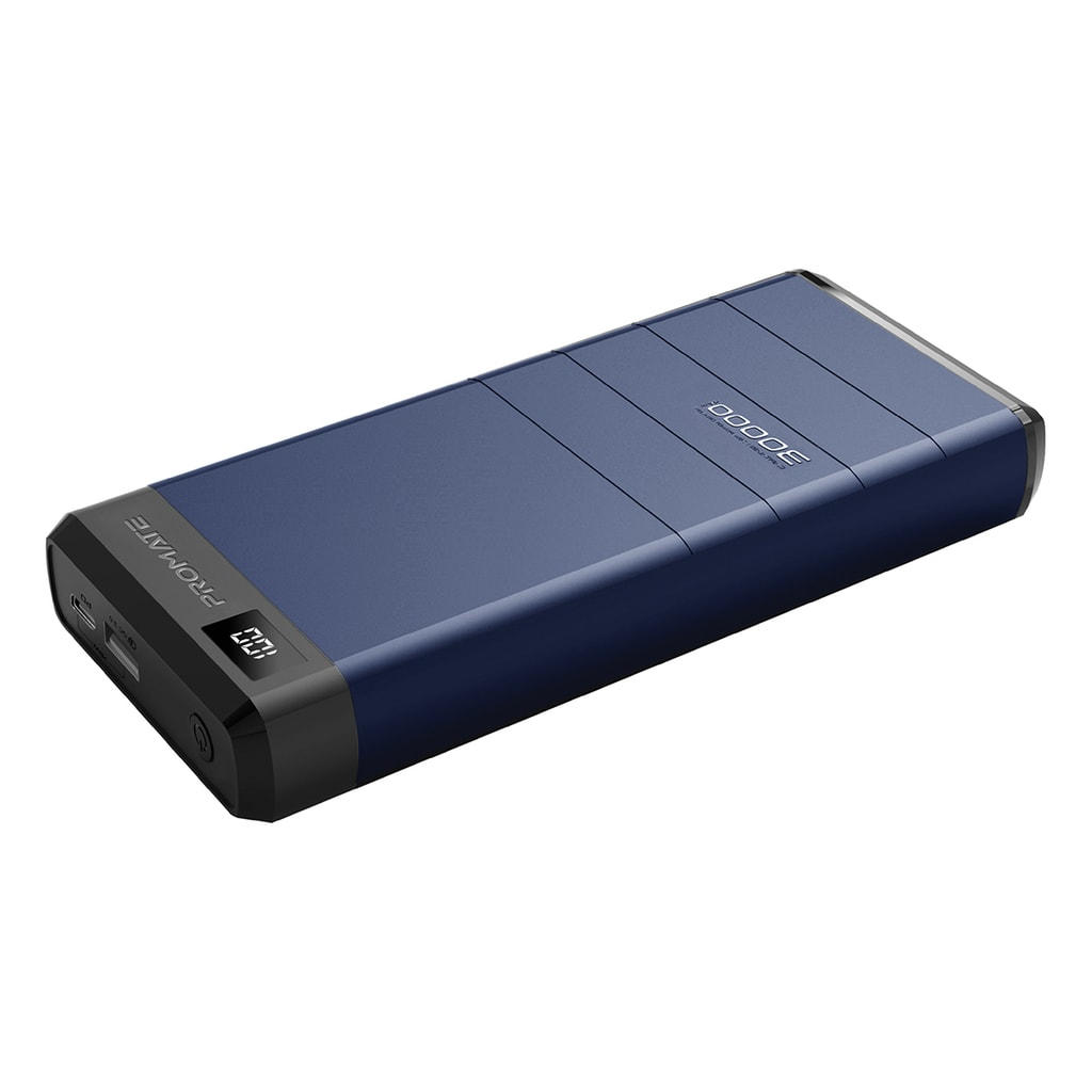 Promate USB-C Power Bank for Laptop, 30000mAh High Capacity Premium Portable Charger with 60W Power Delivery Type-C Two Way Charging Port, LED Display and 18W Qualcomm QC 3.0 USB Port for MacBook Pro, iPhone XS Max, iPad Pro, Capital-30 Blue
