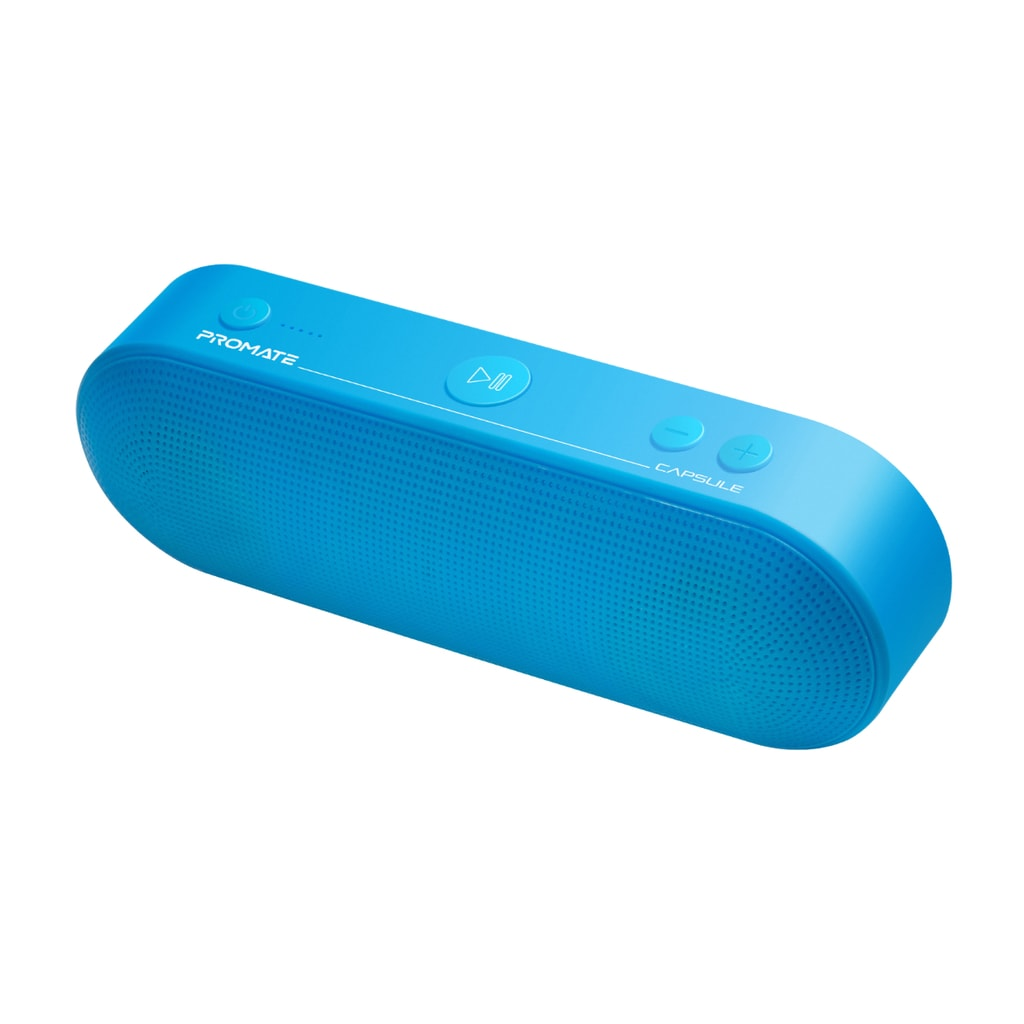 Promate Bluetooth Speaker, Portable Wireless Speaker with Mic, 6W HD Sound Quality, 3H Playtime, FM Radio, 3.5mm Audio Jack, USB Media Port and SD Card Slot for iPhone 12, iPad Pro, iPod, Capsule Blue