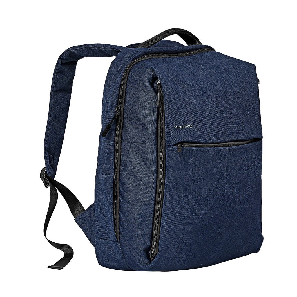 Promate Laptop Backpack, Heavy-Duty Canvas Styled Durable Backpack with Multiple Storage, Quick Access Zipper and Secure Anti-Theft Design for Laptop, Document, Notebook, Travel, CityPack-BP Blue