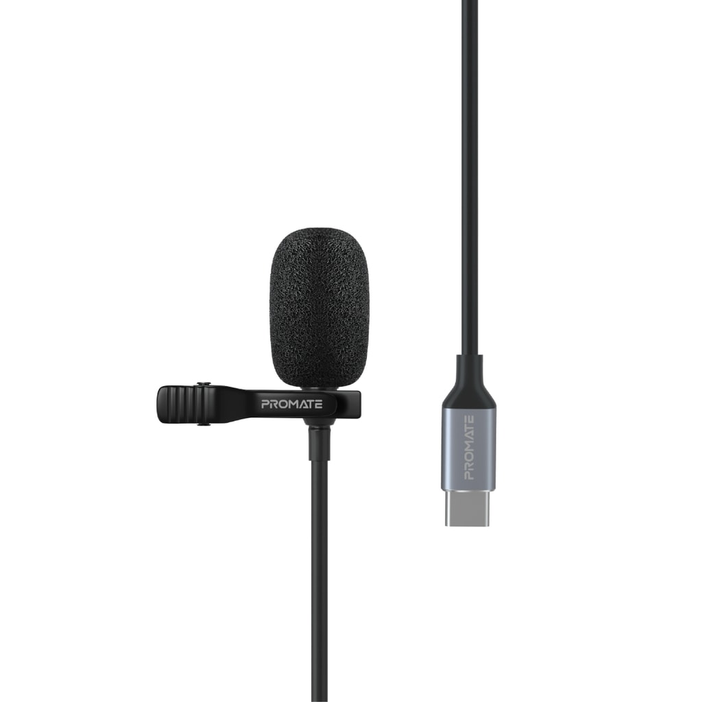 Promate USB Type- C Lavalier Microphone, Omnidirectional Condenser Clip-on Lapel Mic with USB-C Connector, HD Sound and Noise Reduction for Galaxy S21, iPad Pro, iPad Air, Meetings, Interview, ClipMic-C