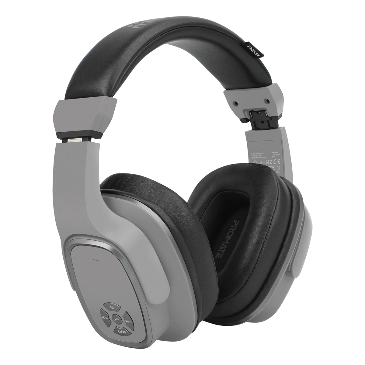 Promate Wireless Headphone with Speaker, 2-in-1 High Definition Bluetooth v5.0 Headphone with Built-in 6W Speaker, Mic, 12H Playtime, MicroSD Card Slot, FM Radio and AUX Port for Smartphones, Tablets, iPod, Corvin Grey
