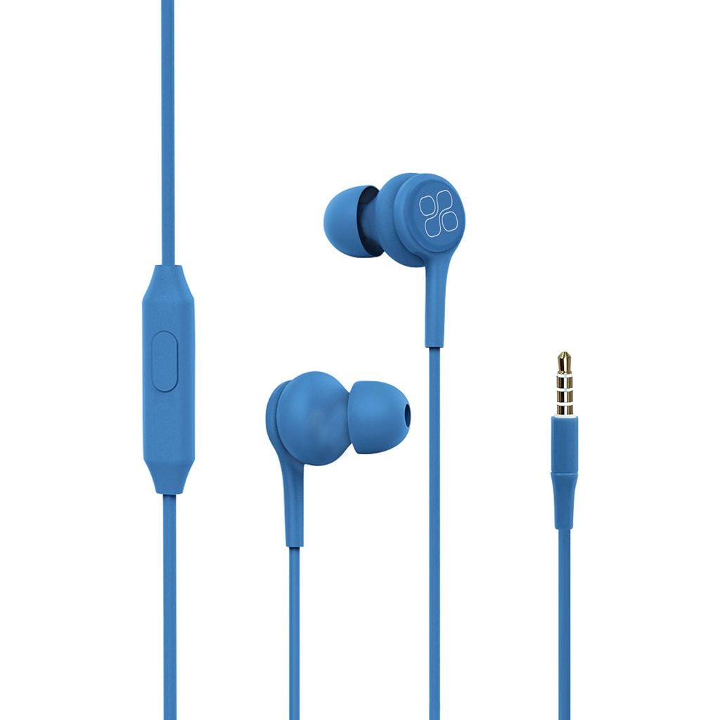 Promate In-Ear Earphones, Universal Dynamic Hi-Res Noise Isolating Wired Earphones with Built-In Mic, Remote Control, HD Sound Quality and 1.2m Tangle-Free Cord for Smartphones, Tablets, Pc, MP3 Player, Duet Blue