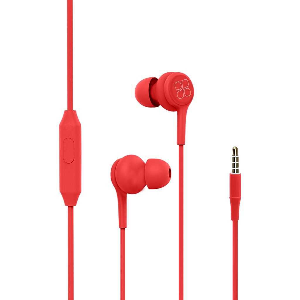 Promate In-Ear Earphones, Universal Dynamic Hi-Res Noise Isolating Wired Earphones with Built-In Mic, Remote Control, HD Sound Quality and 1.2m Tangle-Free Cord for Smartphones, Tablets, Pc, MP3 Player, Duet Red