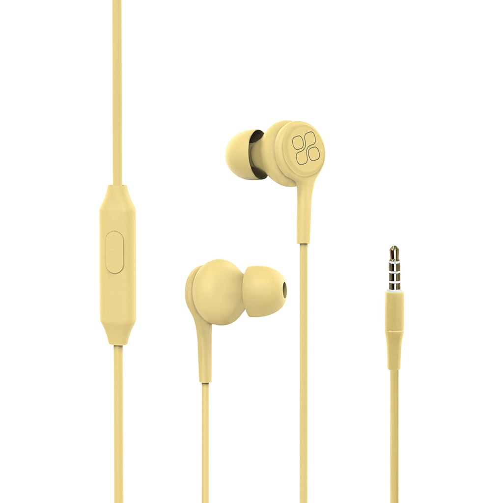 Promate In-Ear Earphones, Universal Dynamic Hi-Res Noise Isolating Wired Earphones with Built-In Mic, Remote Control, HD Sound Quality and 1.2m Tangle-Free Cord for Smartphones, Tablets, Pc, MP3 Player, Duet Yellow