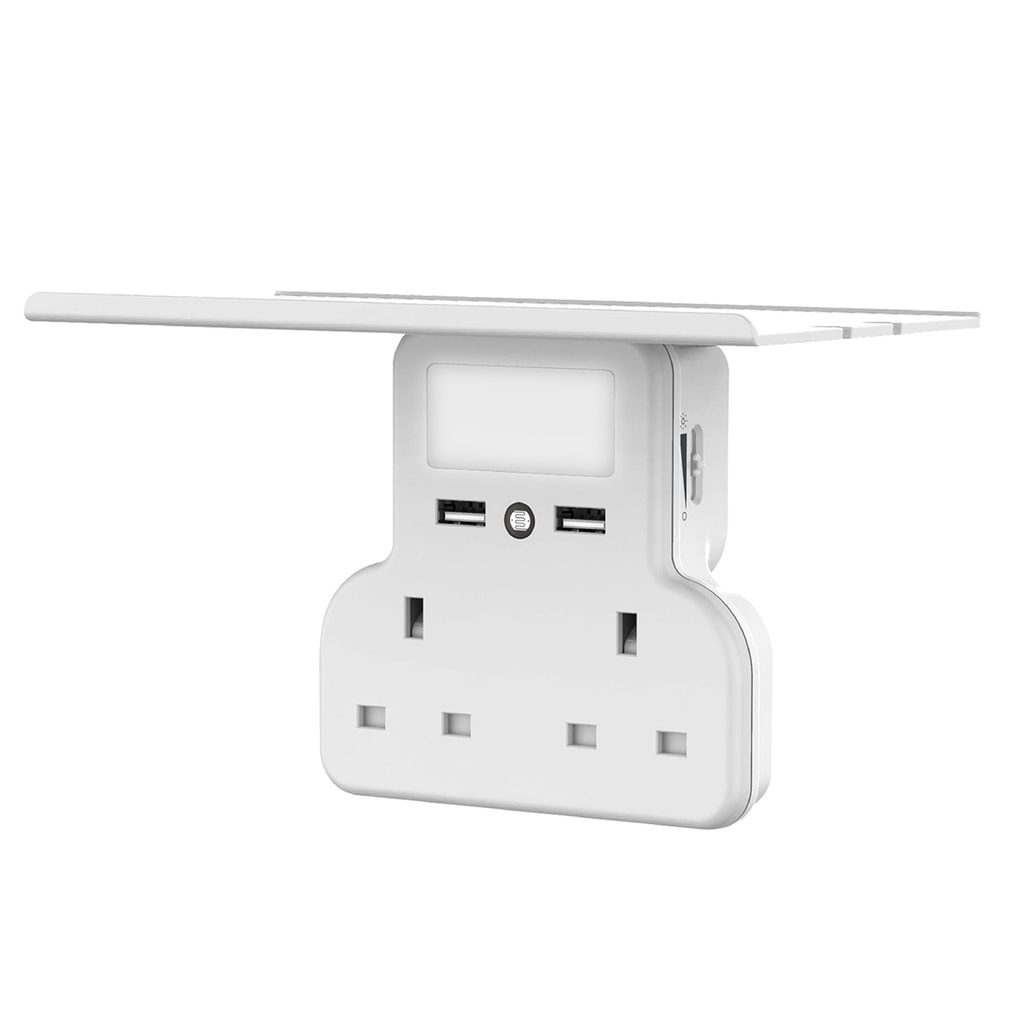 Promate Wall Mount Charging Station, 5-in 1 Wall Outlet Extender with Removable Shelf, Dual 3250W AC Outlets, 2 USB Ports, Sensor LED Night Light and Brightness Control for Smartphones/Office/Kitchen, PowerRack.UK White