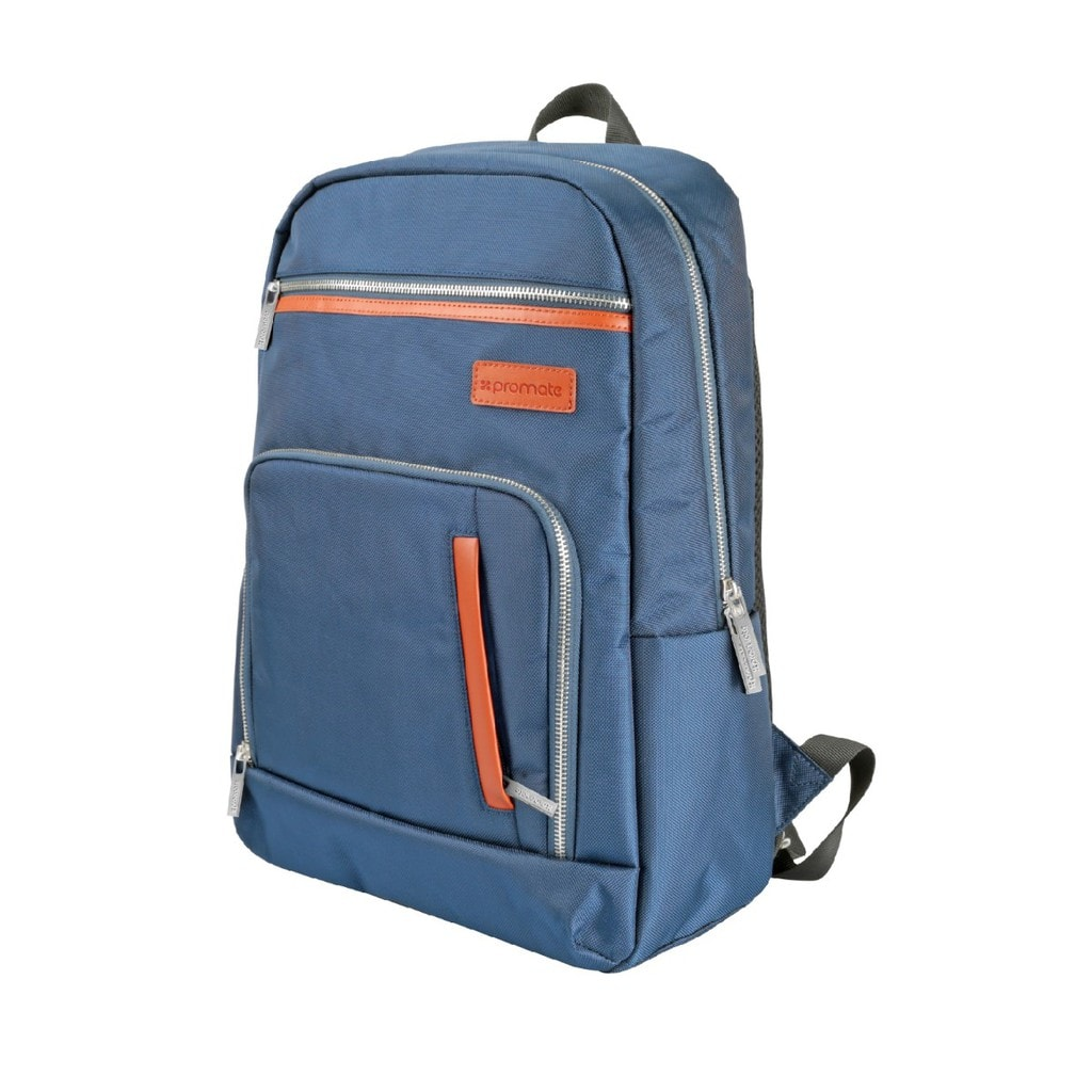 Promate Laptop Backpack, Lightweight All-Terrain Durable Secure Multi-Storage Backpack with Document Organizer and Quick Access Zipper for Men, Women, Up to 15.6 Inch Laptop, Expidition-BP Blue