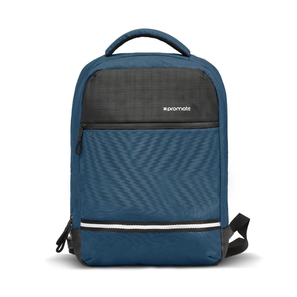 Promate Travel Laptop Backpack, Anti-Theft Slim Durable 13 Inch Laptop Backpack with Water Resistant, Soft Adjustable Padded Straps, Multiple Storage and USB Charging Port for Laptops, iPad, Explorer-BP Blue