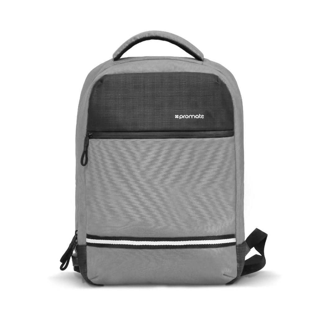 Promate Travel Laptop Backpack, Anti-Theft Slim Durable 13 Inch Laptop Backpack with Water Resistant, Soft Adjustable Padded Straps, Multiple Storage and USB Charging Port for Laptops, iPad, Explorer-BP Grey