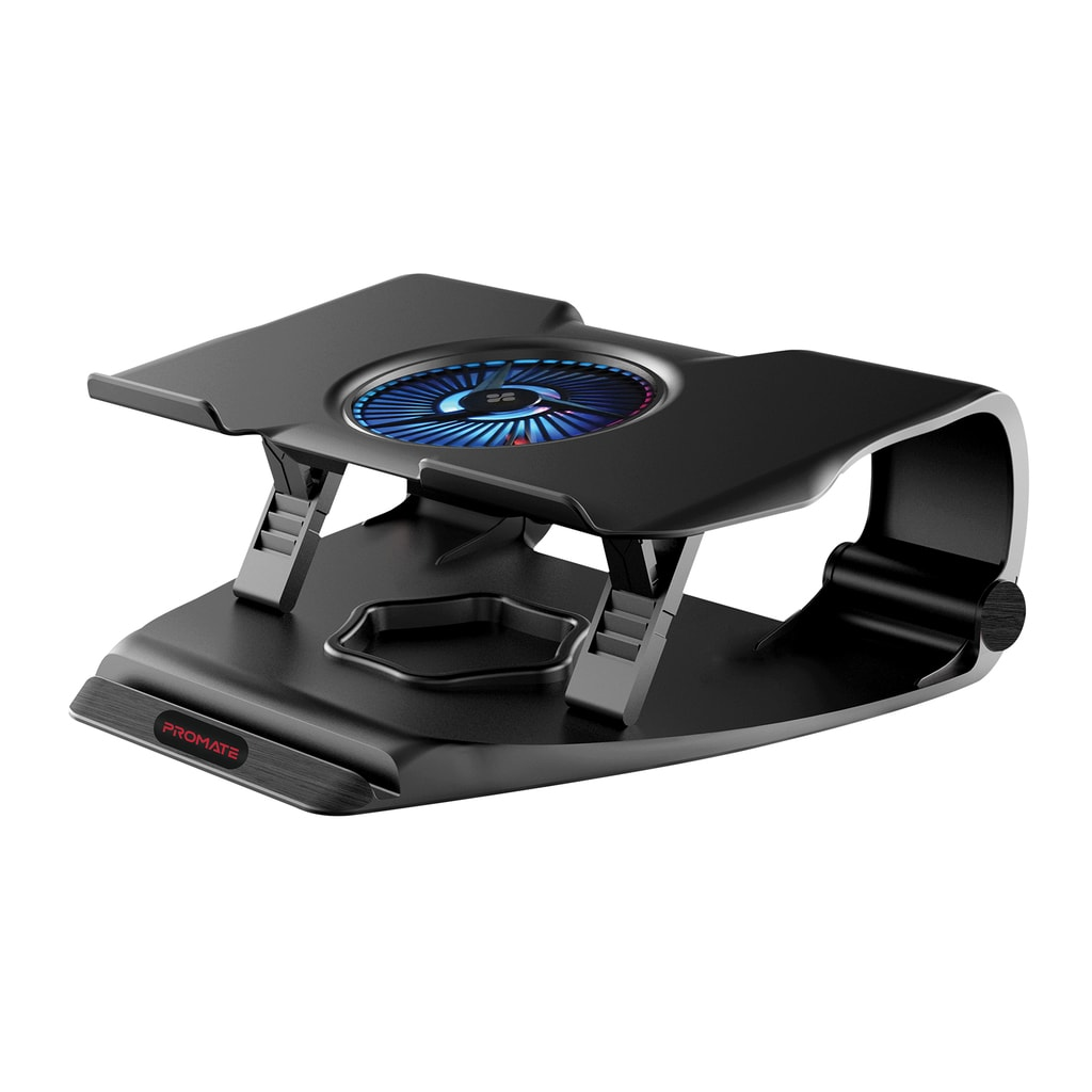 Promate Laptop Cooling Pad, Ergonomic Superior Cooling Gaming Laptop Stand up to 17 inches with Multi-Level Height, Quiet Fan, Dual USB Port, Smart LED Illumination and Built-In Smartphone/Tablet Holder for Laptops Smartphones, Tablet, FrostBase
