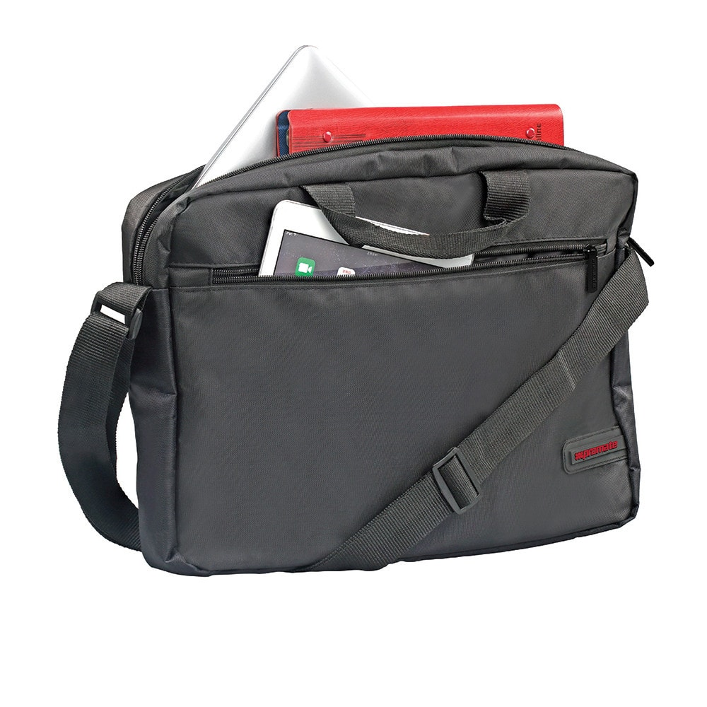 Promate Messenger Bag with Water-Resistance for 15.6-Inch Laptops, MacBook Pro, Asus, HP, Samsung, Gear-MB.Black