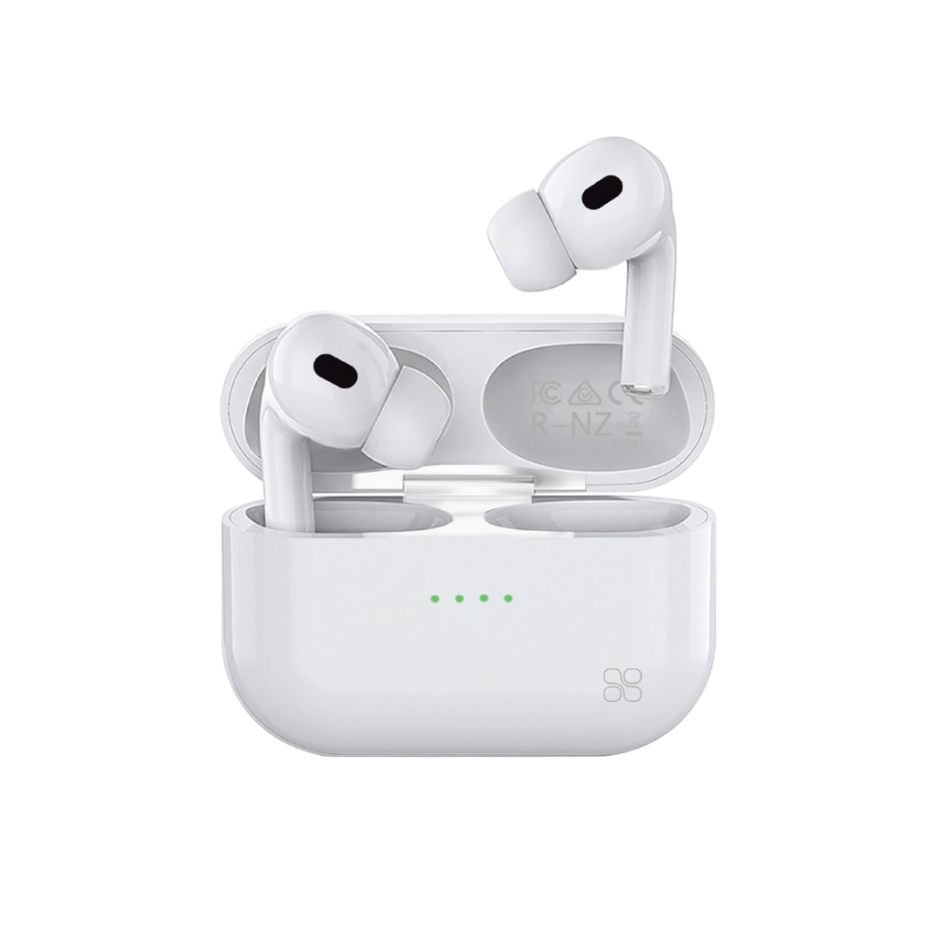 Promate True Wireless Earbuds, Advanced Bluetooth 5.0 Ergonomic Headphones with Mic, 16-Hour Playtime, 240mah Charging Case, Auto-Pairing and Smart-Touch-Control For iPhone 12, Samsung Note 20, Harmoni White