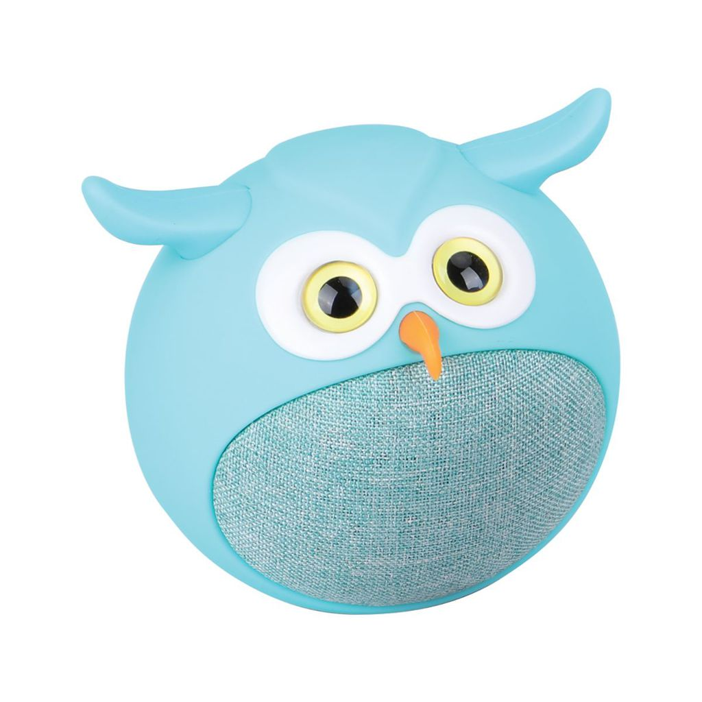Promate True Wireless Speaker, Portable Mini Owl Bluetooth v5.0 Animal 3W Speaker with Built-In Microphone and 400mAh Rechargeable Battery for Kids, Smartphones, Tablets, iPod, Hedwig Blue