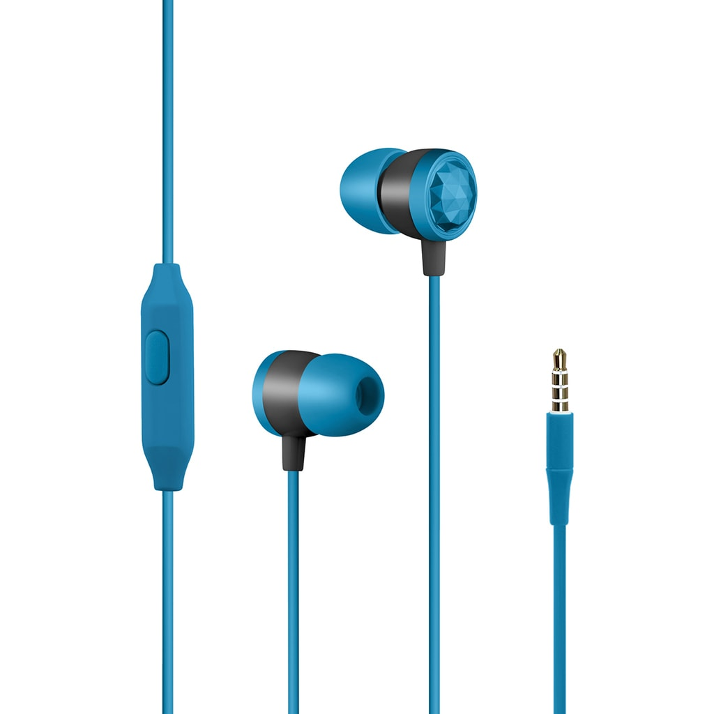Promate In-Ear Wired Headphones, Premium Metallic Hi-Fi Stereo Wired Earphone with Built-in Mic, Comfortable Secure Fit Earbuds, 1.2m Tangle-Free Cord and One-Button Control for Smartphones, Tablets, Pc, MP3 Player, Ingot Blue