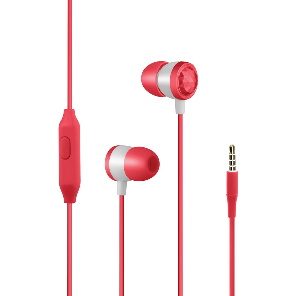 Promate In-Ear Wired Headphones, Premium Metallic Hi-Fi Stereo Wired Earphone with Built-in Mic, Comfortable Secure Fit Earbuds, 1.2m Tangle-Free Cord and One-Button Control for Smartphones, Tablets, Pc, MP3 Player, Ingot Red