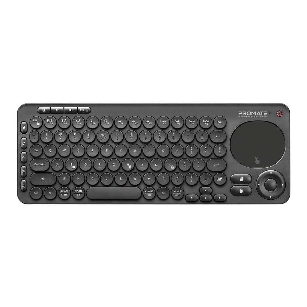 Promate Bluetooth Keyboard with Touchpad, All-In-One 2.4Ghz Wireless/Bluetooth v5.0 Multimedia Keyboard with Built-In Touchpad Mouse, Precision Tracking, Multi-Device Pairing and IR TV Remote Controller, KeyPad-1 English