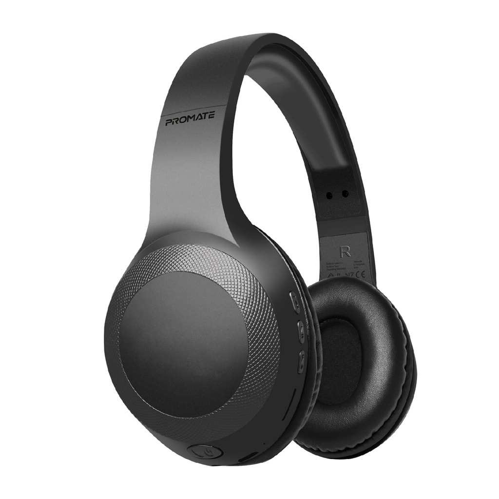 Promate Bluetooth Headphone, Over-Ear Deep Bass Wired/Wireless Headphone with Long Paytime, Hi-Fi Sound, Built-In Mic, On-Ear Controls, Soft Earpads, MicroSD Card Slot and AUX Port for iPhone, Samsung, iPad Pro, LaBoca Black