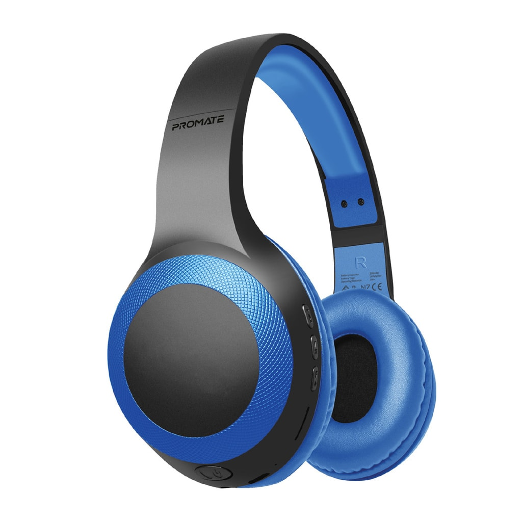 Promate Bluetooth Headphone, Over-Ear Deep Bass Wired/Wireless Headphone with Long Paytime, Hi-Fi Sound, Built-In Mic, On-Ear Controls, Soft Earpads, MicroSD Card Slot and AUX Port for iPhone, Samsung, iPad Pro, LaBoca Blue