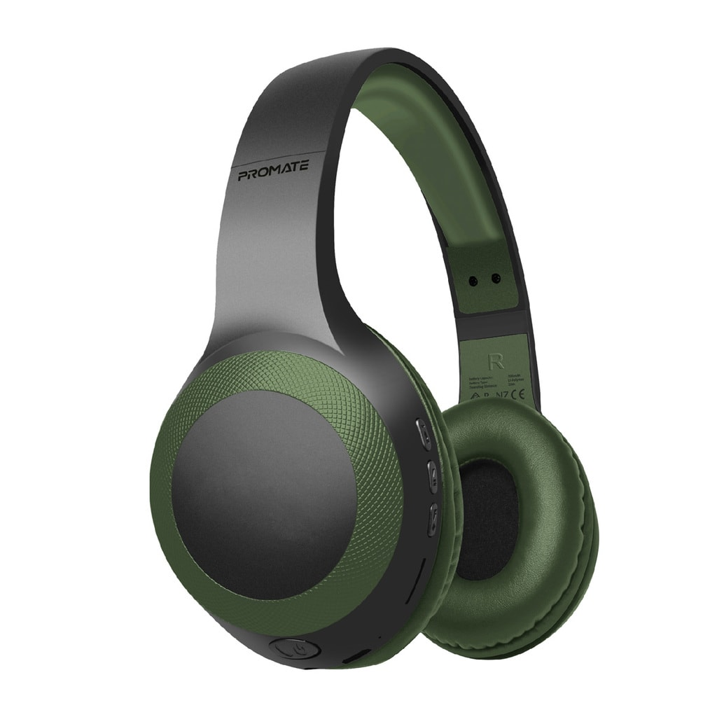 Promate Bluetooth Headphone, Over-Ear Deep Bass Wired/Wireless Headphone with Long Paytime, Hi-Fi Sound, Built-In Mic, On-Ear Controls, Soft Earpads, MicroSD Card Slot and AUX Port for iPhone, Samsung, iPad Pro, LaBoca Midnight Green