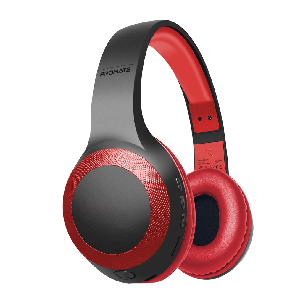 Promate Bluetooth Headphone, Over-Ear Deep Bass Wired/Wireless Headphone with Long Paytime, Hi-Fi Sound, Built-In Mic, On-Ear Controls, Soft Earpads, MicroSD Card Slot and AUX Port for iPhone, Samsung, iPad Pro, LaBoca Red