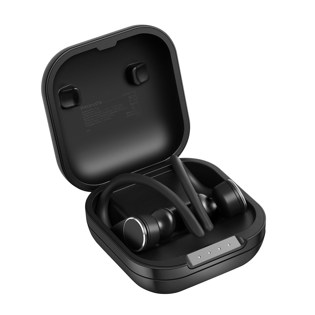 Promate TWS True Wireless Earphones, Smart Sporty Over-Ear Bluetooth v5.0 Earbuds with Smart Touch Control, Built-In Mic. Wireless Charging Case, Long Playback Time and Proximity Sensors for Smartphones, PC, Tablets, Liberty Black
