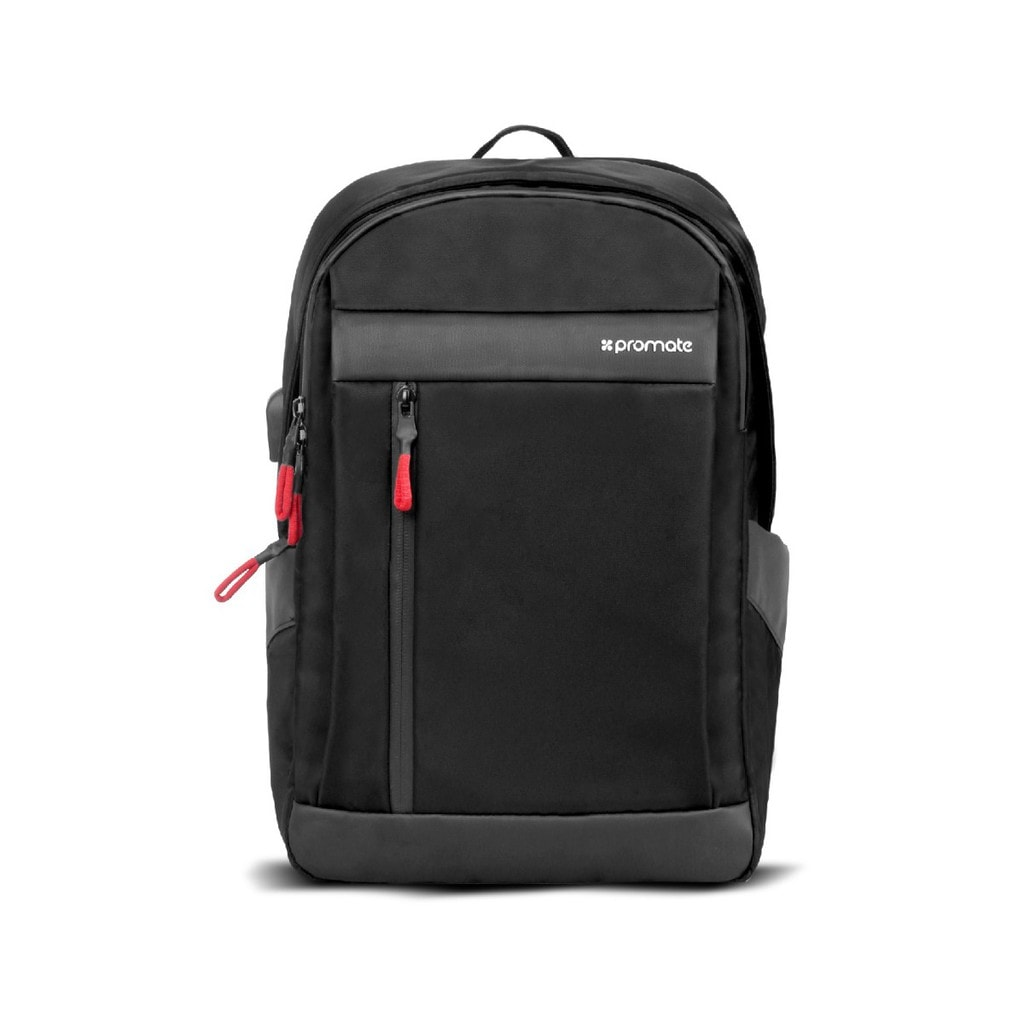 Promate Laptop Backpack, Multi-Purpose 13 Inches Laptop Travel Backpack with USB Charging Port, Multiple Storage, Adjustable Straps and Water Resistant for Laptops, Tablets, Documents, Unisex, Metro-BP Black