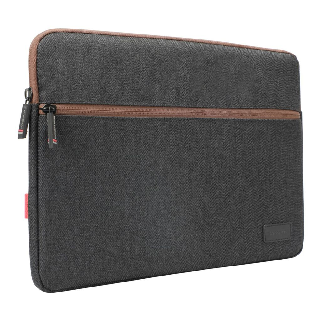 Promate 16 Inch Laptop Sleeve, 360 Degree Protective Laptop Carrying Case with Water-Repellent Fabric, Soft Inner Lining, Drop Protective and Accessory Pocket with Secure Zipper for Dell, ThinkPad, Tablets, Portfolio-L Black