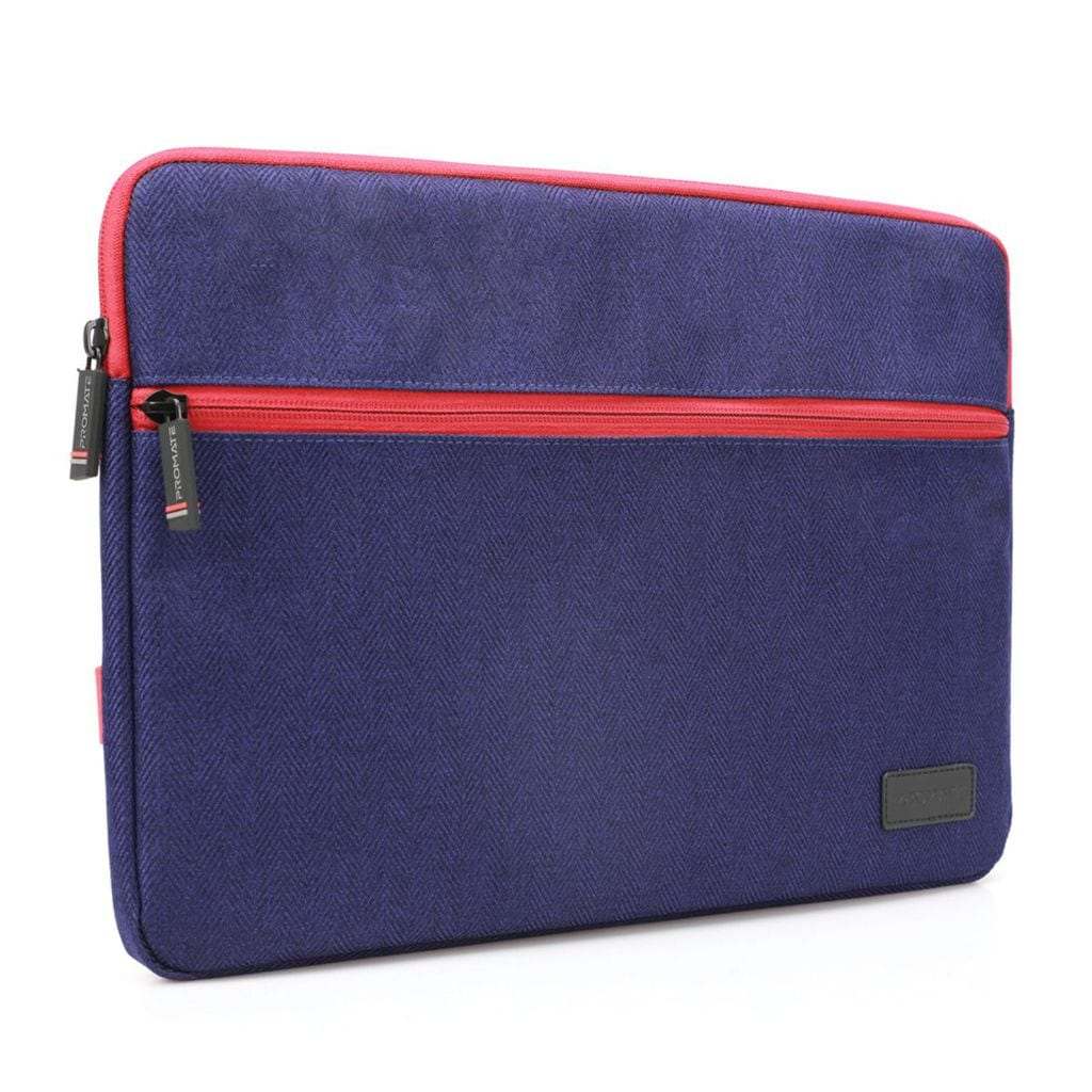 Promate 16 Inch Laptop Sleeve, 360 Degree Protective Laptop Carrying Case with Water-Repellent Fabric, Soft Inner Lining, Drop Protective and Accessory Pocket with Secure Zipper for Dell, ThinkPad, Tablets, Portfolio-L Blue