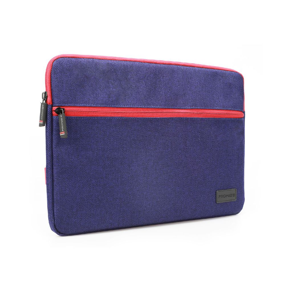 Promate Laptop Sleeve, Lightweight 13 Inch Water-Repellent Protective Fabric Laptop Sleeve with Secure Quick Access Pocket, Soft Inner Lining and Shockproof Bag for Laptops, Notebook, Tablet, Portfolio-M Blue